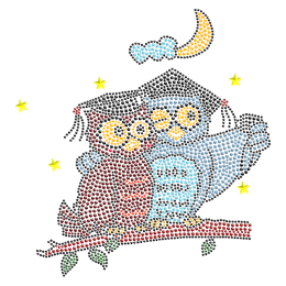 Rhinestone Happy Owl Couple Iron on Design