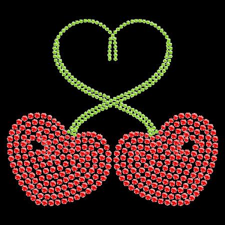 Heart-shaped Cherry Hot fix Strass Transfer