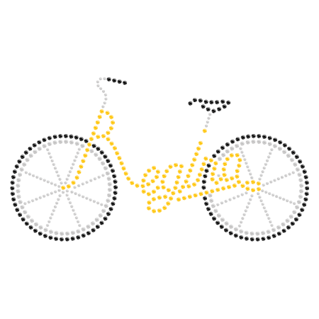 Iron on Bicycle Flat Back Rhinestone Motif