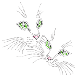 Rhinestone Shining Cats Hot-fix Design
