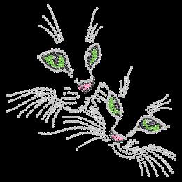 Rhinestone Shining Cats Hot-fix Design