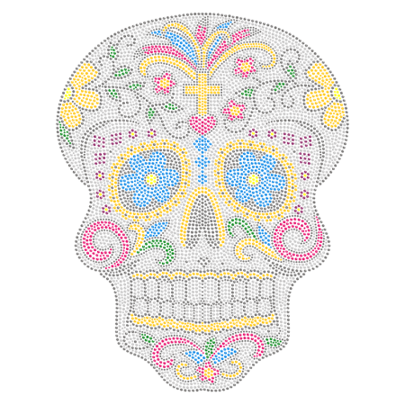 Stunning Skull Iron on Rhinestone Transfer Design