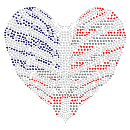 Iron on Strass American Flag Heart Motif Design