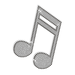 Hot Fix Musical Note Crystal Pattern Design