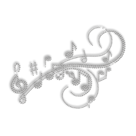 Refreshing Musical Score Iron on Crystal Pattern