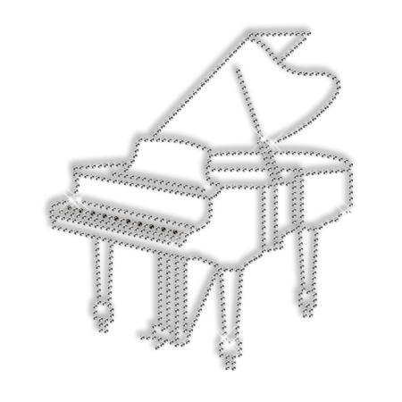 Sparkling Rhinestone Hotfix Piano Motif for Clothes