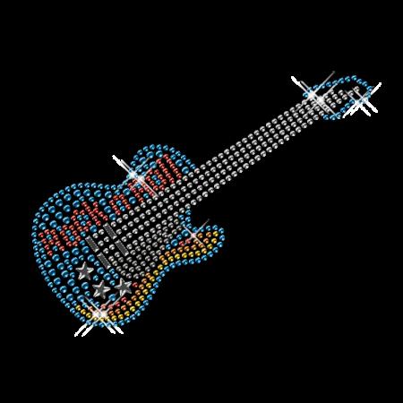 Rhinestone Iron on Guitar Motif Design