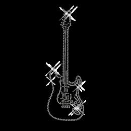 Rhinestone Bling Iron on Guitar Transfer