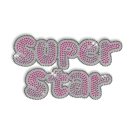 Sparkling Rhinestone Words of Super Star Iron on Transfer Motif for Clothes