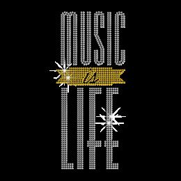 Shining Word of Music is Life Rhinestone Hot Fix Design