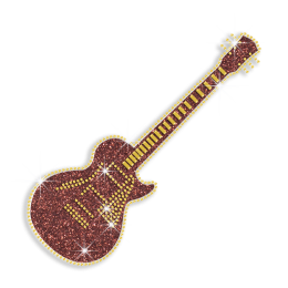 Cool Golden Guitar Nailhead Glitter Iron on Transfer