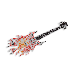 Cool Guitar on Fire Rhinestone Glitter Iron on Transfer