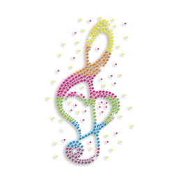Colorful Music Note Iron on Rhinestone Transfer Design