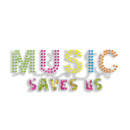 Colorful Music Saves Us Rhinestone Glitter Iron on Transfer