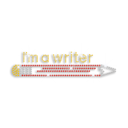 Colorful Pencil I'm a Writer Bling Rhinestone Hotfix Transfer