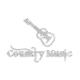 Country Music Guitar Rhinestone Iron on Transfer Design