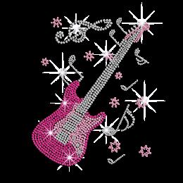 Bling Beautiful Guitar Hotfix Rhinestud Iron-on Transfer
