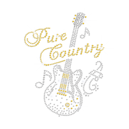 Pure Country & Musical Guitar Iron on Rhinestone Transfer