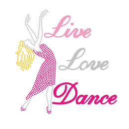 Crystal Iron on Live Love Dance Rhinestone Transfer