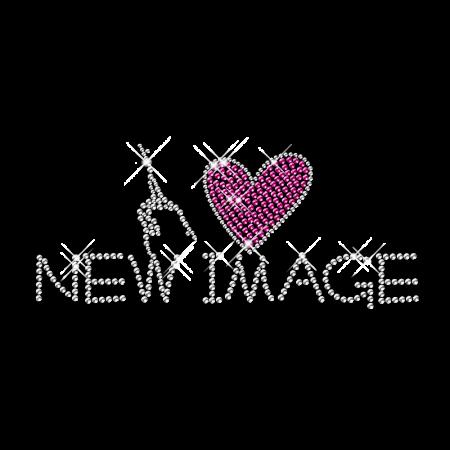 Rhinestone Design Iron on I Heart New Image Transfer