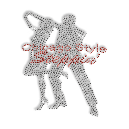 Hot Sparkling Rhinestone Chicago Style Dancers Iron on Transfer Motif for Clothes