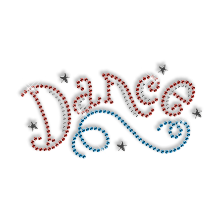 Hot Shinning Rhinestone Red and Blue Word of Dance Iron on Transfer Design for Clothes