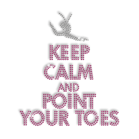 Hot Shinning Rhinestone KEEP CALM AND POINT YOUR TOES Iron on Transfer Design for Clothes
