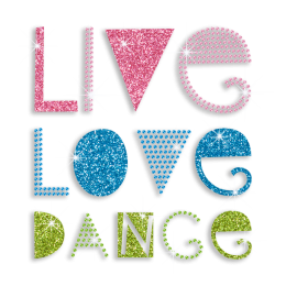 Colorful Live Love Dance Sequin Glitter Iron-on Transfer