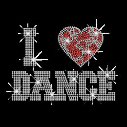 Bling I Heart Dance Rhinestud Iron-on Hot-fix Transfer Design