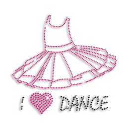 I Heart Dance with Dance Dress Iron-on Rhinestone Transfer