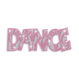 Big Pink Letters Dance Iron-on Rhinestone Transfer