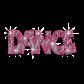Big Pink Letters Dance Iron-on Rhinestone Transfer