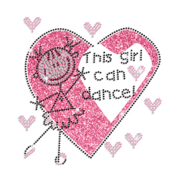 Cute Little Dance Girl Iron-on Glitter Rhinestone Transfer Motif