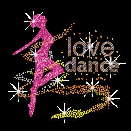 Elegant Love Dance Iron-on Glitter Rhinestone Transfer
