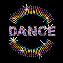 Colorful Dance Logo Iron-on Glitter Rhinestone Transfer