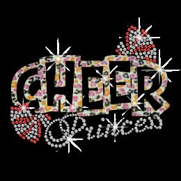 Leopard Print Cheer Princess Hotfix Glitter Rhinestone Transfer