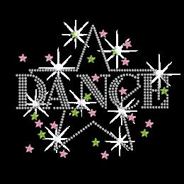 Crystal Dance with Bling Star Heat Press Rhinestone Transfer