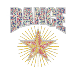 Sparkling Dance Star Iron-on Glitter Rhinestone Transfer