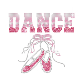 Pink Ballet Dance Shoes Iron-on Rhinestone Glitter Transfer
