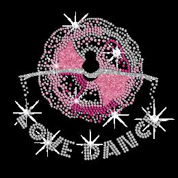Pink Floral Elegant Dance Lover ISS Show Iron on Rhinestone Glitter Transfer