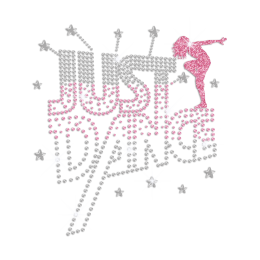 Just Dance Iron on Rhinestone Glitter Transfer Motif