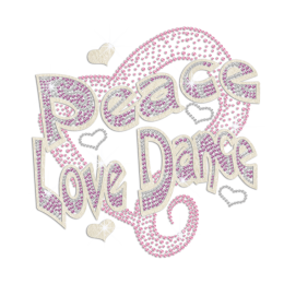 Peace Love Dance Heart Iron-on Rhinestone Glitter Transfer