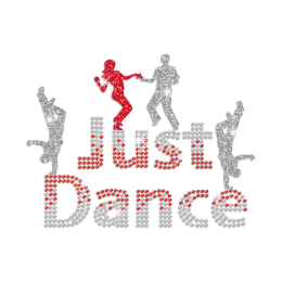 Just Dance Iron on Glitter Rhinestone Transfer Motif