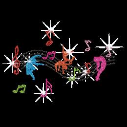Dance with Beautiful Music Iron on Rhinestone Transfer Decal