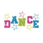 Colorful Dance with Colorful Stars Iron on Rhinestone Transfer Motif