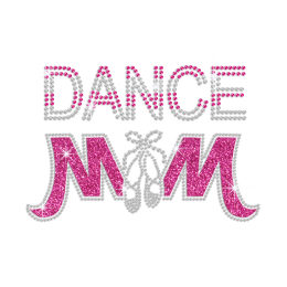 Dance Mom with Crystal Dance Shoes Iron on Rhinestone Transfer Decal