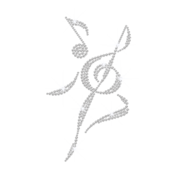 Crystal Musical Notation Iron on Rhinestone Transfer Motif