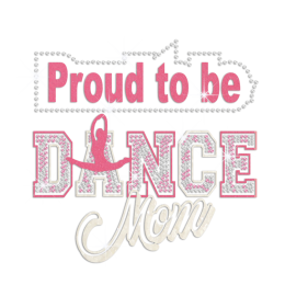 Proud To Be Cheer Mom Iron on Glitter Nailhead Transfer Decal