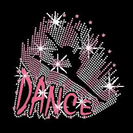Glittering Ballet Jumping Girl Iron on Nailhead Rhinestone Decal