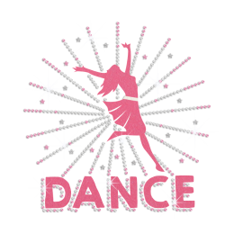 Glittering Stretch Arms And Dance Iron on Rhinestone Transfer Motif